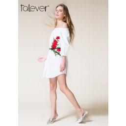Talever Summer Shirt Dress Sexy Slash Neck Office Dress White Floral
