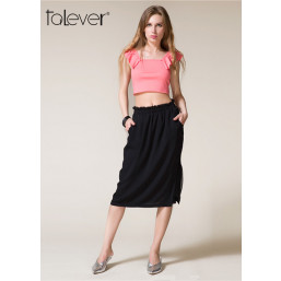 Talever Summer Black Solid Knee Length Casual Skirt A-Line Sexy Splits Skirt with Pockets