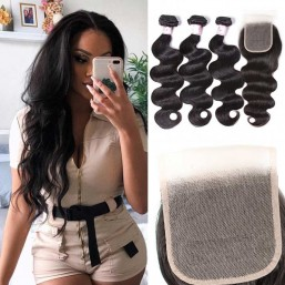Beautyforever 4*4 Transparent Lace Closure Free Part With Body Wave Hair 3Bundles