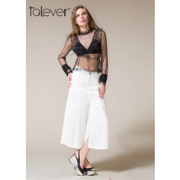 Talever Summer Black Sexy Mesh Top Women's Blouse Ruffles