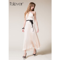 New Elegant Cross Choker Halter Sleeveless Evening Party Dress With Sashes