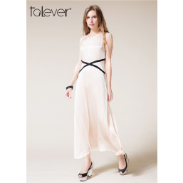 Talever Maxi Women O-neck Sleeveless Elegant Female Party Dress Color Champagne