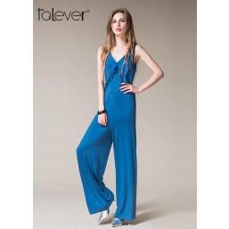 Summer Lady Women Sleeveless Jumpsuit Bodysuit Wide Leg Long Trousers Clubwear