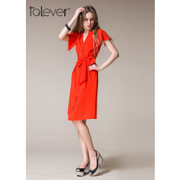 Talever Summer V Neckline Button Front Office Lady Dress With Self Tie