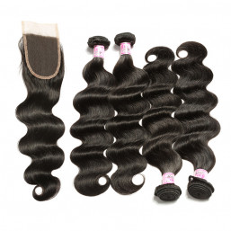Brazilian Hair 4Bundles With Lace Closure Body Wave Hair Weft