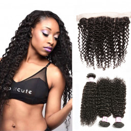Beautyforever Malaysian Curly Virgin Hair Lace Frontal Closure With 3Bundles