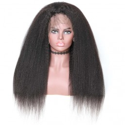 360 Lace Frontal Long Kinky Straight 180% Density Human Hair Wigs On Sale