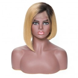 Blonde Ombre Color Short Bob Human Hair Wig On Sale, 130% Density, 13*4 Lace Frontal