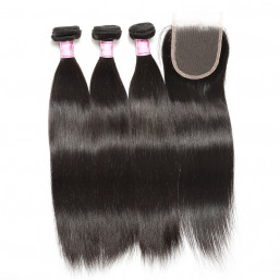 Beautyforever Peruvian Straight Hair 3Bundles With Lace Closure