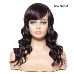 Beautyforever Natural Long Wavy Human Hair Wigs With Bangs 5 Colors