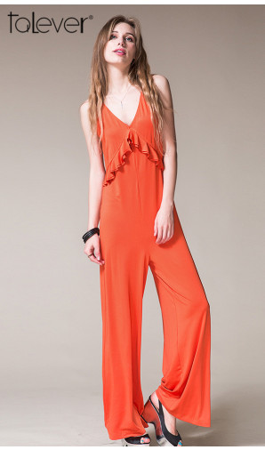 Summer Lady Women Sleeveless Jumpsuit Bodysuit Wide Leg Long Trousers Clubwear