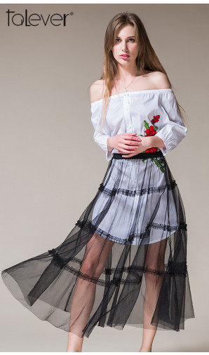 Talever Fashion Summer Mesh Long Black Perspective A-Line Ankle-Length Women Skirt