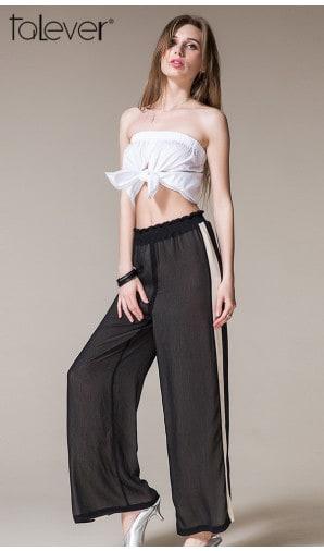 Talever Summer Women Wide Leg Pants Side Fashion Loose High Waist White Striped Pants