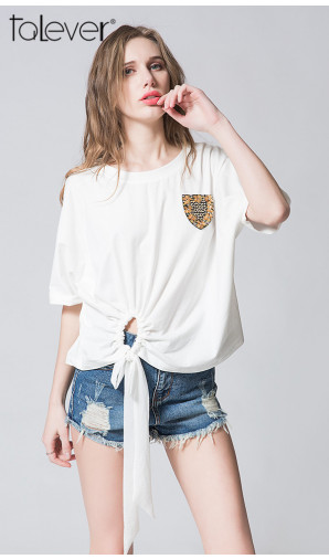 Talever Women Short Sleeve White Hollow Out T- Shirts Femininas Badges Decoration Tees