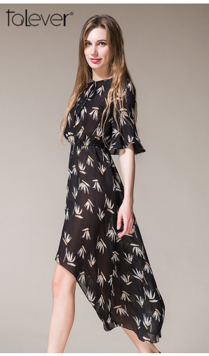 Talever Trendy Floral Print Half Flare Sleeve Elastic Waist Short in Front Long Dress