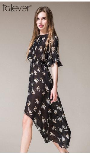Talever Trendy Floral Print Half Flare Sleeve Elastic Waist Short in Front Long Dress