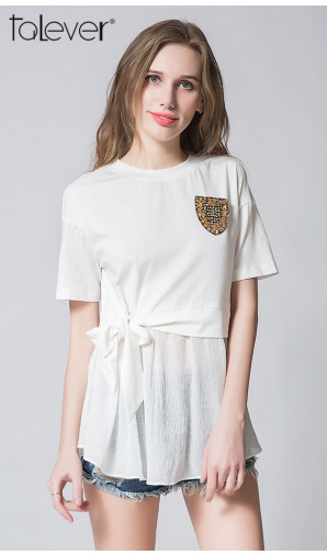 Summer Self Tie Bow Tops For Women O-Neck Short Sleeve White Tees