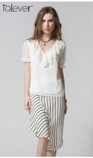 Talever Striped Elegant Summer Beach Splits High Waist Asymmetrical Skirt