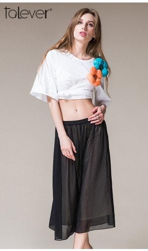 Talever Summer Black Fashion Skirt Length Chiffon Tulle Skirt