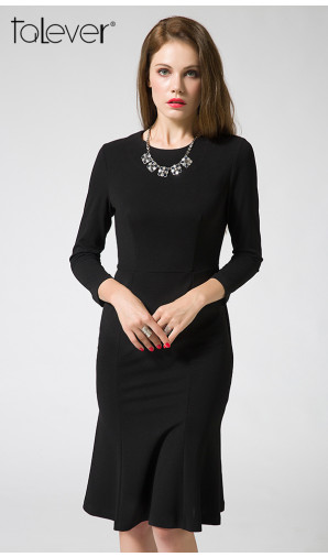 Talever Elegant Mermaid Dress Women Long Sleeve Sheath Party White Black Autumn Dress