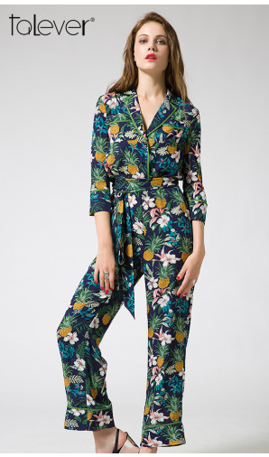 Talever Autumn Elegant Womens Rompers Jumpsuit Casual Sashes Floral Print Bodysuit