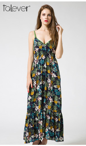 Talever Cami Spaghetti Strappy Floral Print Maxi Dress