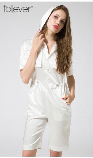 White Hooded Romper Waist Drawstring Summer Women Playsuit V-neck Dual Pockets Short Jumpsuit
