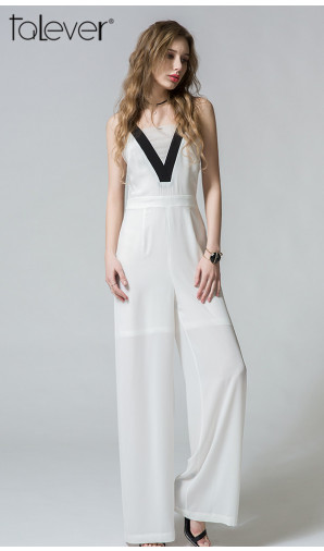 Summer Ladies Jumpsuits Sexy Sleeveless Patchwork Bodysuit Wide Leg Overalls