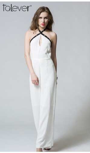 Summer Elegant Sexy Halter Backless High Waist Wide Leg Pants Jumpsuit