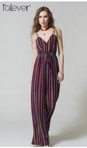 Fashion Striped Jumpsuit Deep V-Neck Strappy High Waist Long Wide Leg Rompers Jumpsuit