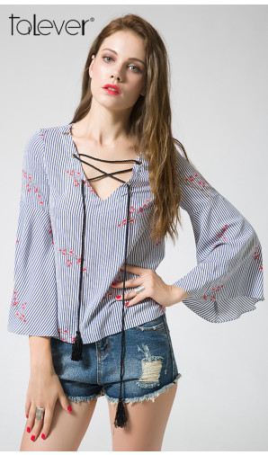Vertical Striped Floral Flare Sleeve Shirt Casual Blue Lace-Up Blouse