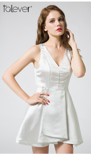 Party Dress Elegant White Sexy V-Neck Backless Wrapped Fold Skirt