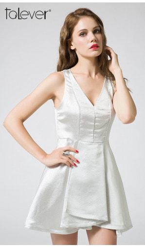 Party Dress Elegant White Sexy V-Neck Backless Wrapped Fold Skirt