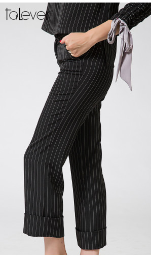 Talever New Fashion Summer Pants for Women Striped Mid Women's Long Trousers