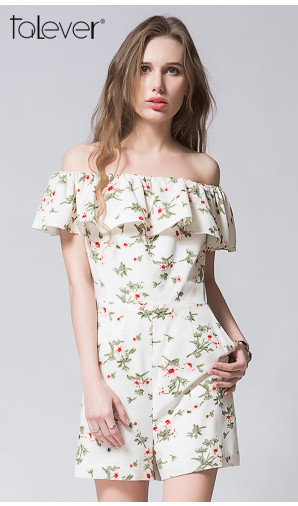Summer Off Shoulder Ruffles Flower Print Chiffon Shorts Women Jumpsuit