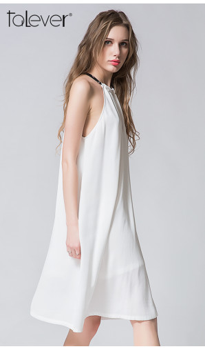 Talever Summer Party Dress Off the Shoulder Choker Halter Strap Chiffon White Beach Dress