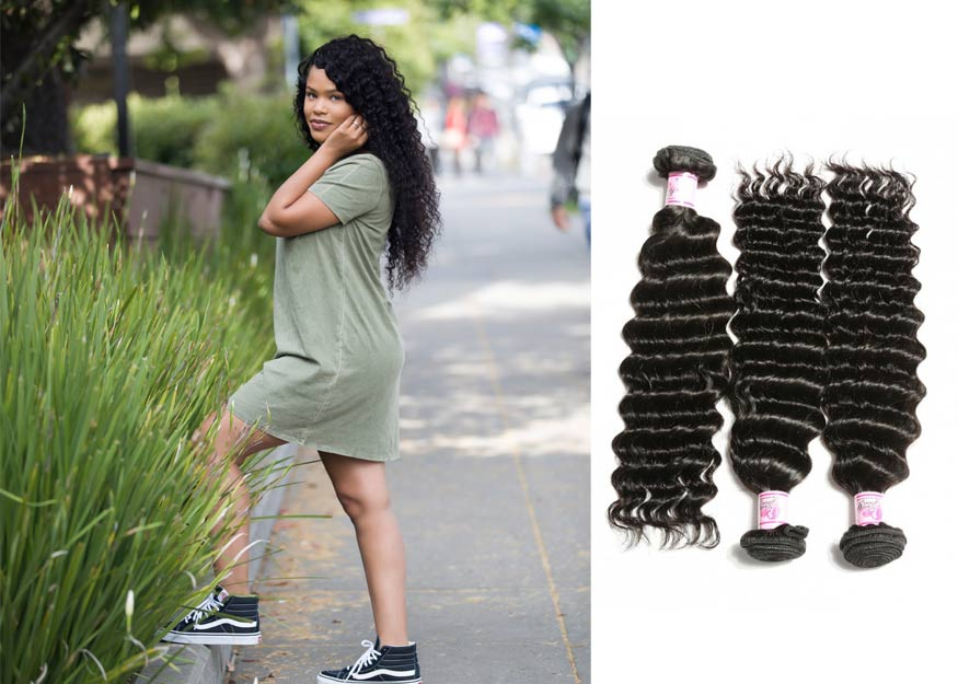 Deep Wave Hair Bundles and Closure For Black Women