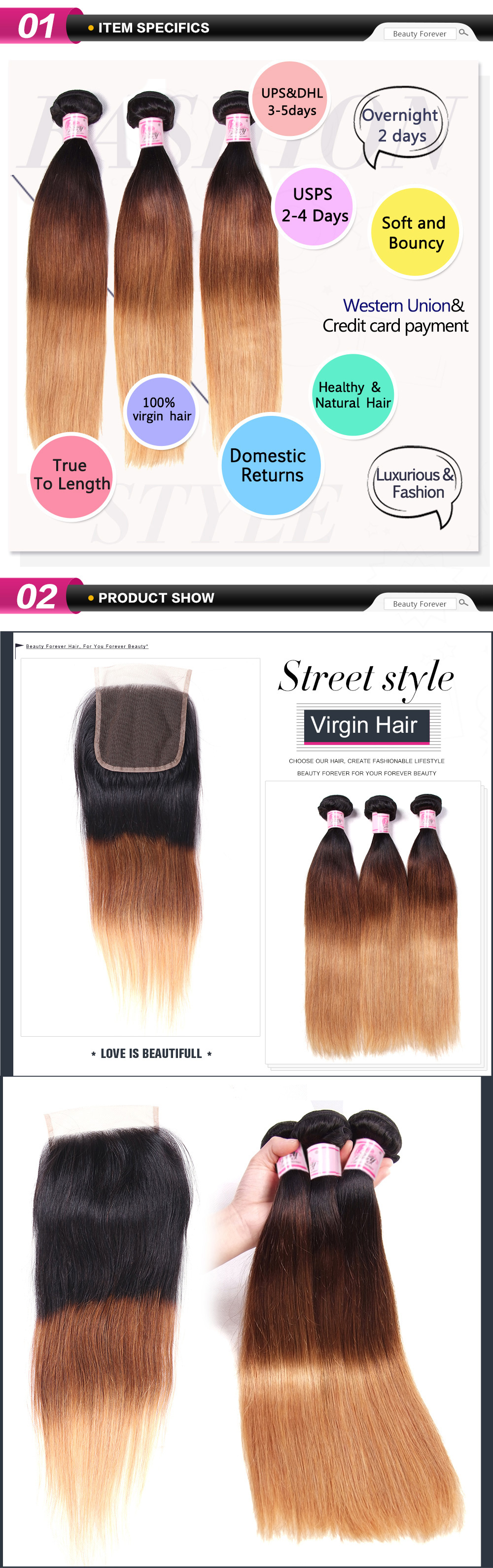 Beautyforever 1b427 Ombre Hair Color Straight Hair 3bundles With