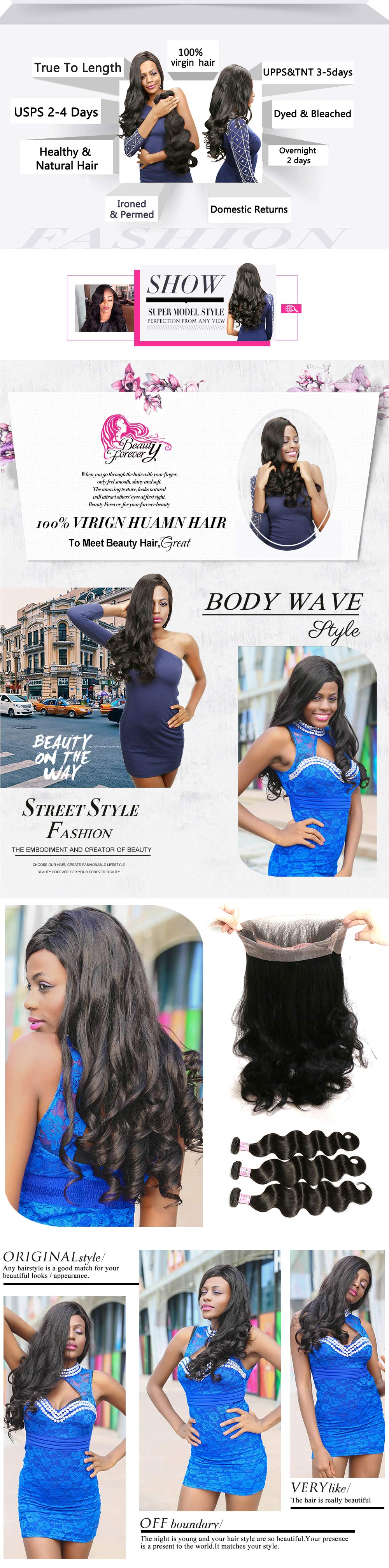 Body Weave 3Bundles With 360 Closure