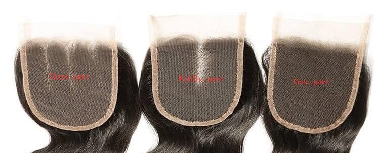 middle part lace closure, three part lace closure, free part lace closure