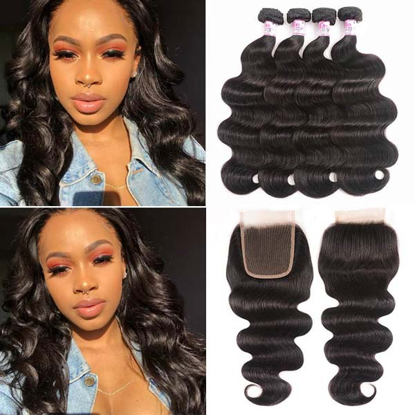 4Bundles With Lace Closure Body Wave Hair Weft
