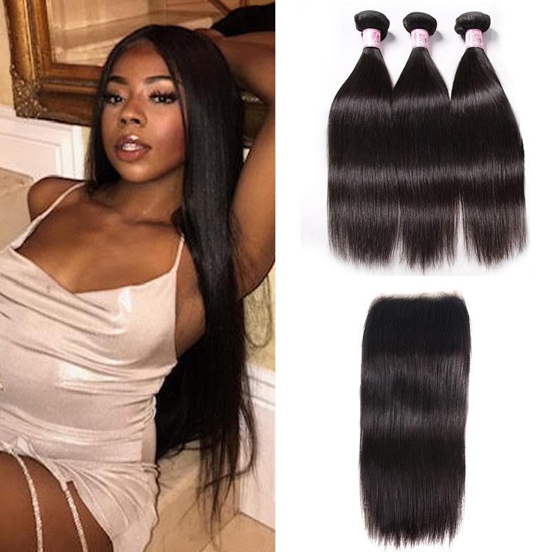 human hair bundles with t part closure