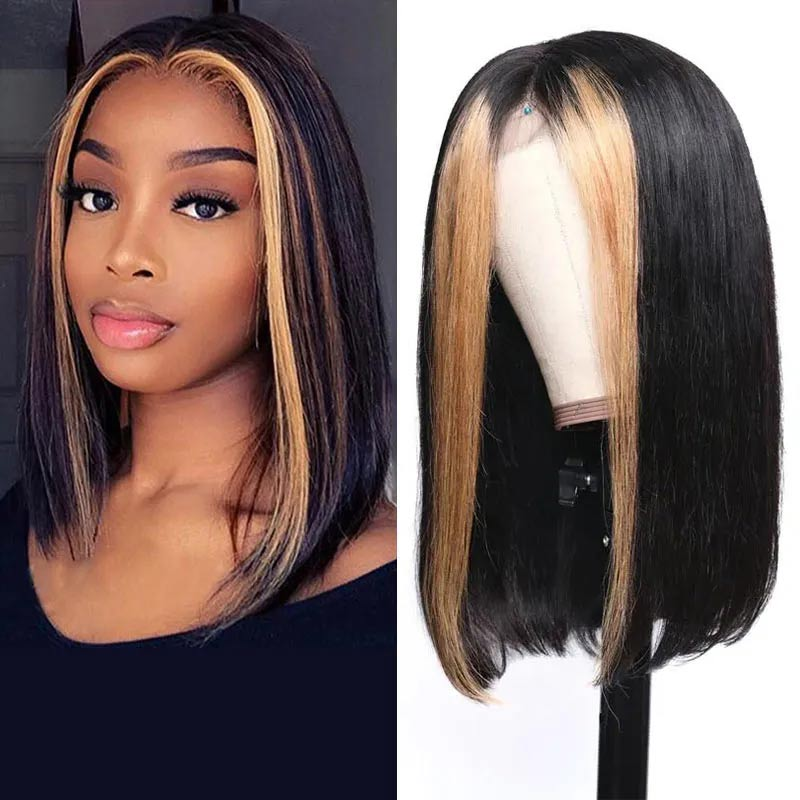 straight human hair wig with blonde highlights