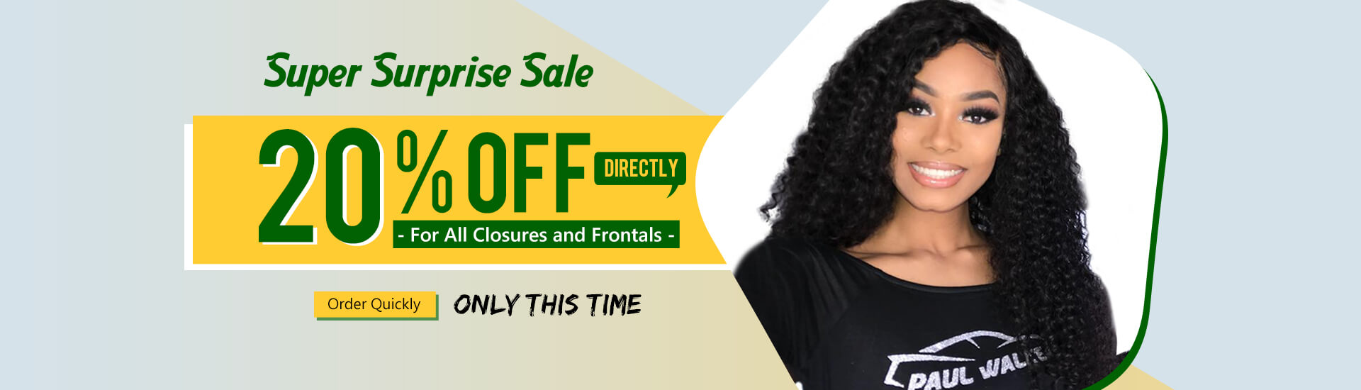 sales on 20% off on closure and frontal