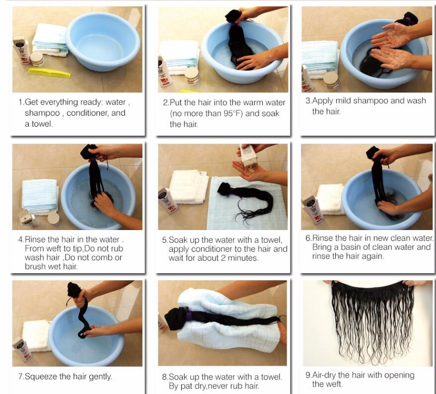 step for wash hair weft