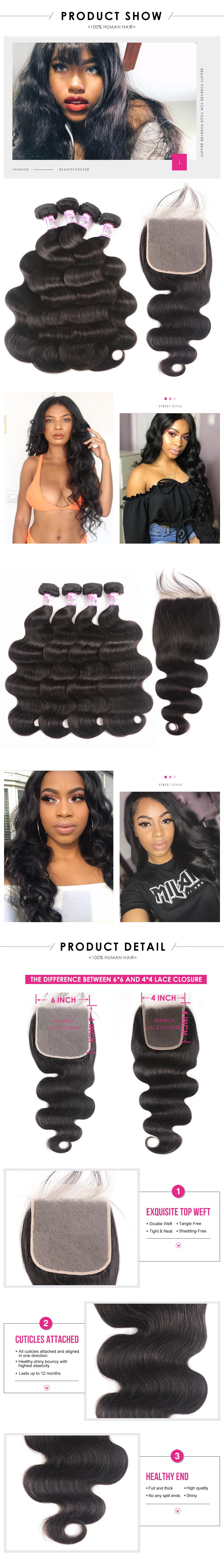 Body 4bundle with 6x6 Lace Closure