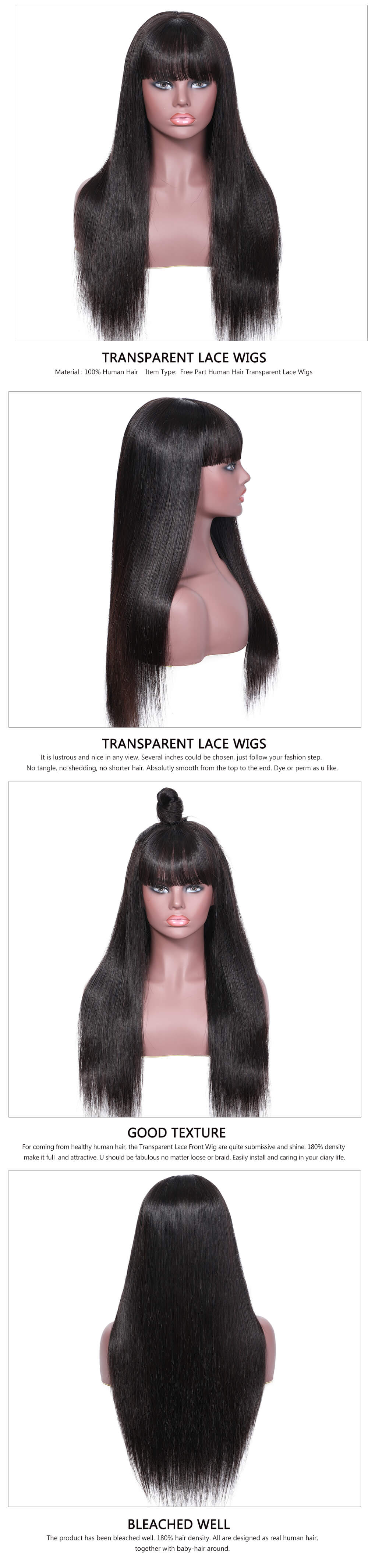 Transparent Lace Wig With Bangs Straight