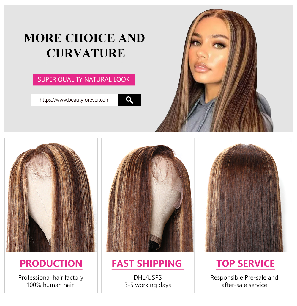 Highlights Color 13x4 Straight Lace Front Wigs