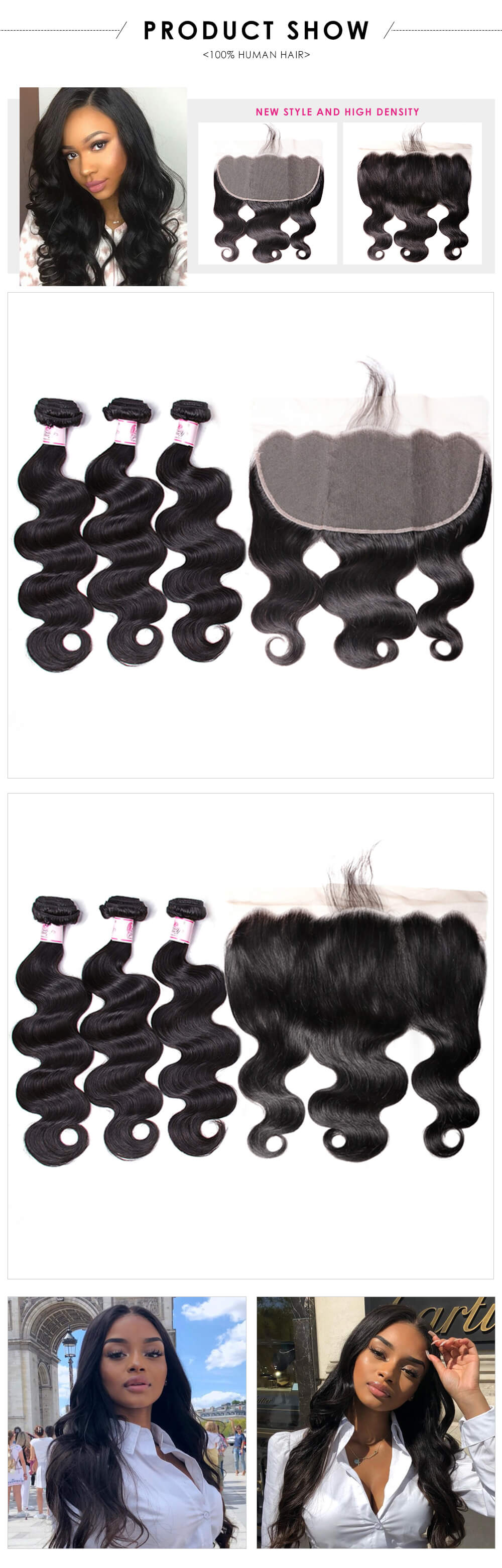 Body wave 3bundles with lace frontal