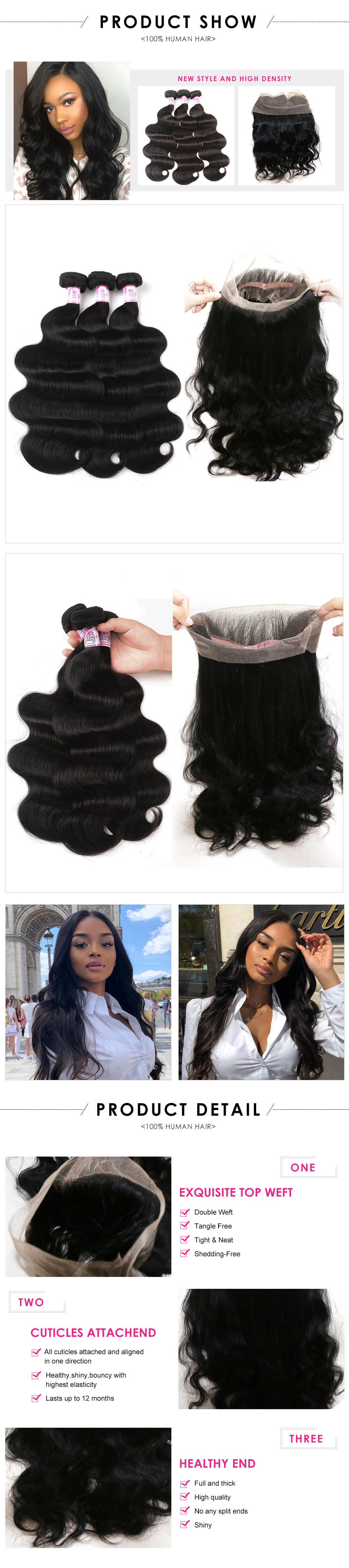 Body wave 3bundles with 370 lace frontal